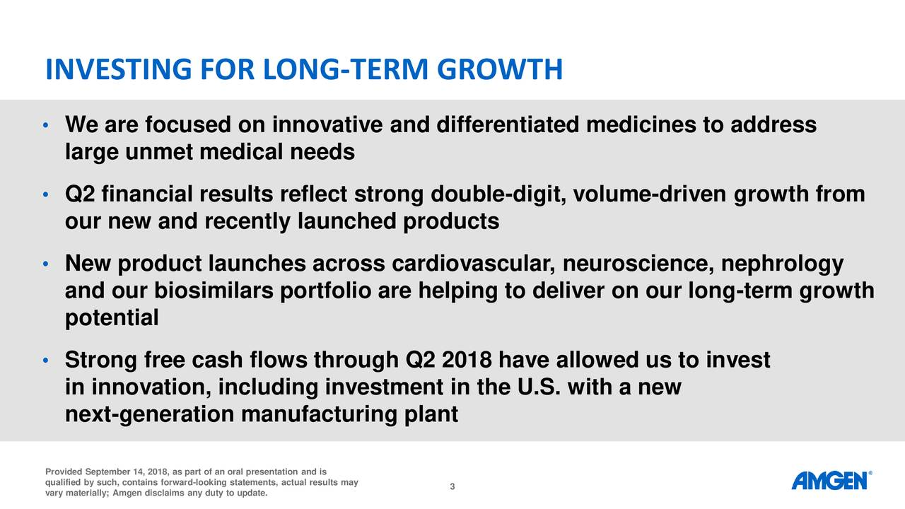 • We are focused on innovative and differentiated medicines to address large unmet medical needs • Q2 financial results reflect strong double-digit, volume-driven growth from our new and recently launched products • New product launches across cardiovascular, neuroscience, nephrology and our biosimilars portfolio are helping to deliver on our long-term growth potential • Strong free cash flows through Q2 2018 have allowed us to invest in innovation, including investment in the U.S. with a new next-generation manufacturing plant Provided September 14, 2018, as part of an oral presentation and is vary materially; Amgen disclaims any duty to update.ts, actual results may
