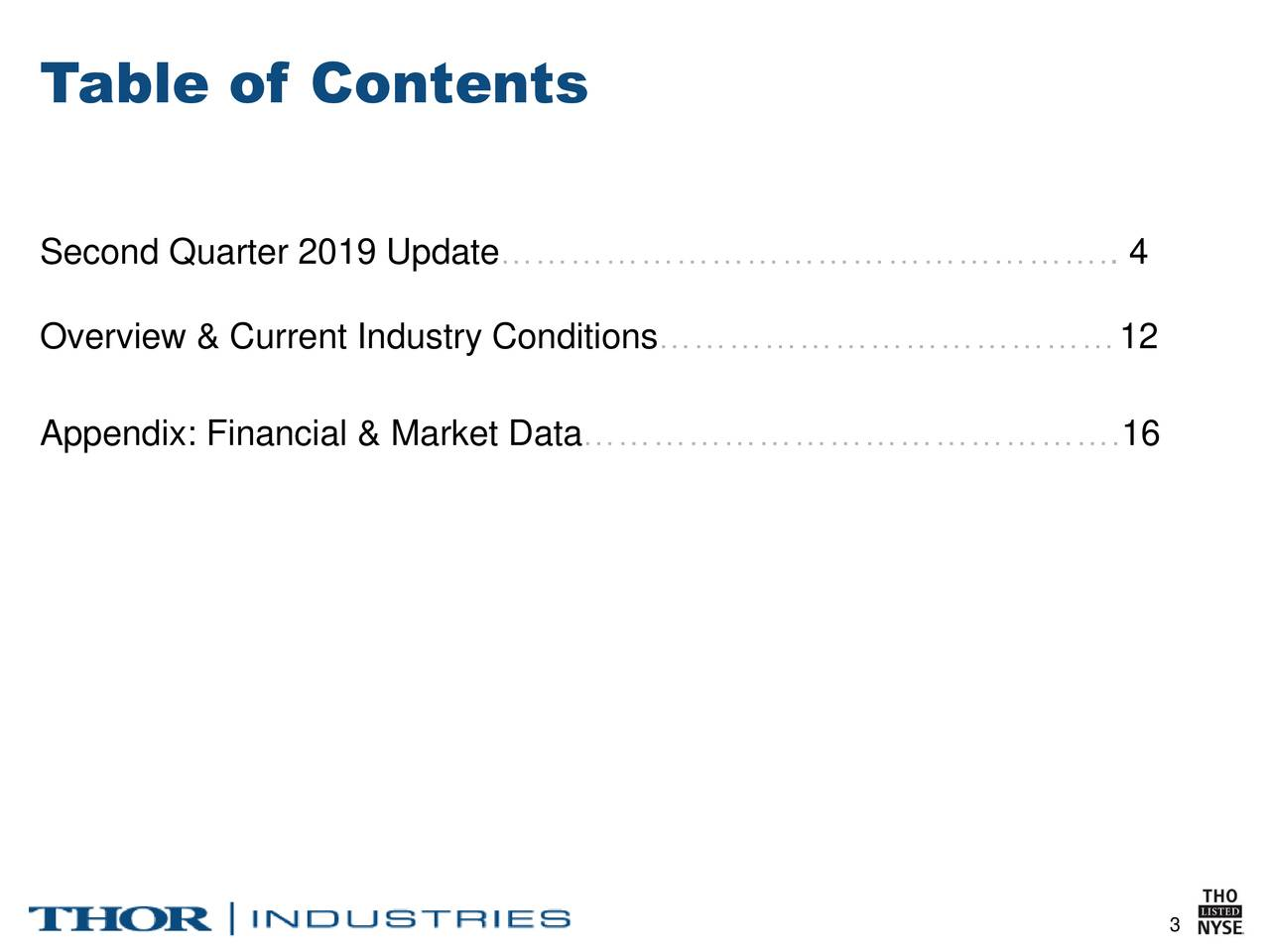 Second Quarter 2019 Update…………………………………………….. 4 Overview & Current Industry Conditions…………………………………12 Appendix: Financial & Market Data……………………………………….16 3