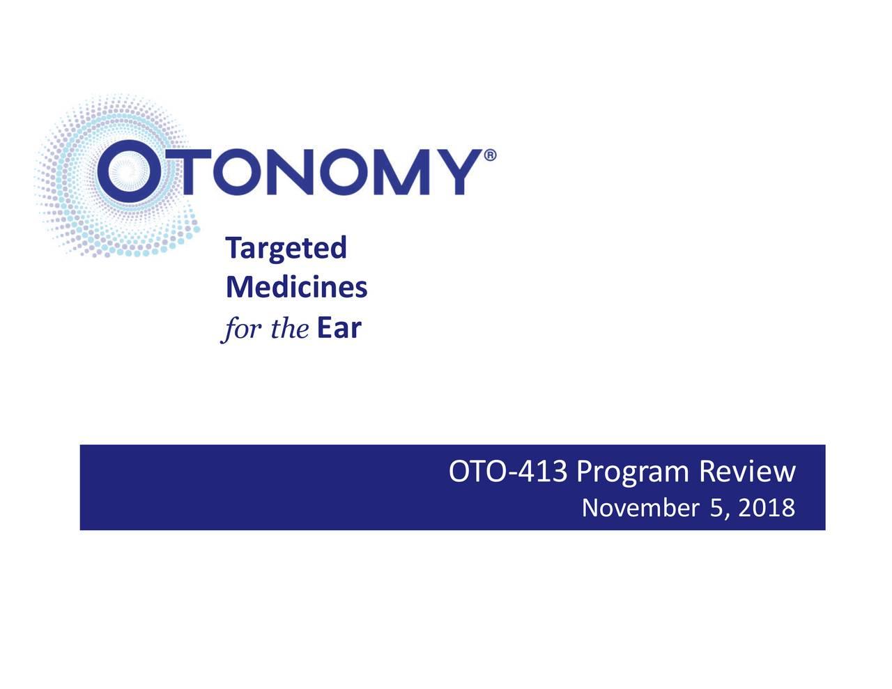 Medicines for thEar OTO-413 Program Review November 5, 2018
