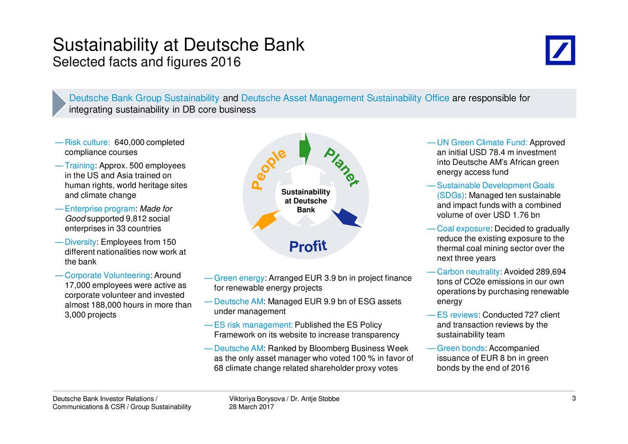 deutsche bank sustainability essay First, the nature of their work is unsuited to performance-based pay as the incoming chief executive of deutsche bank, john cryan, recently said in an interview.