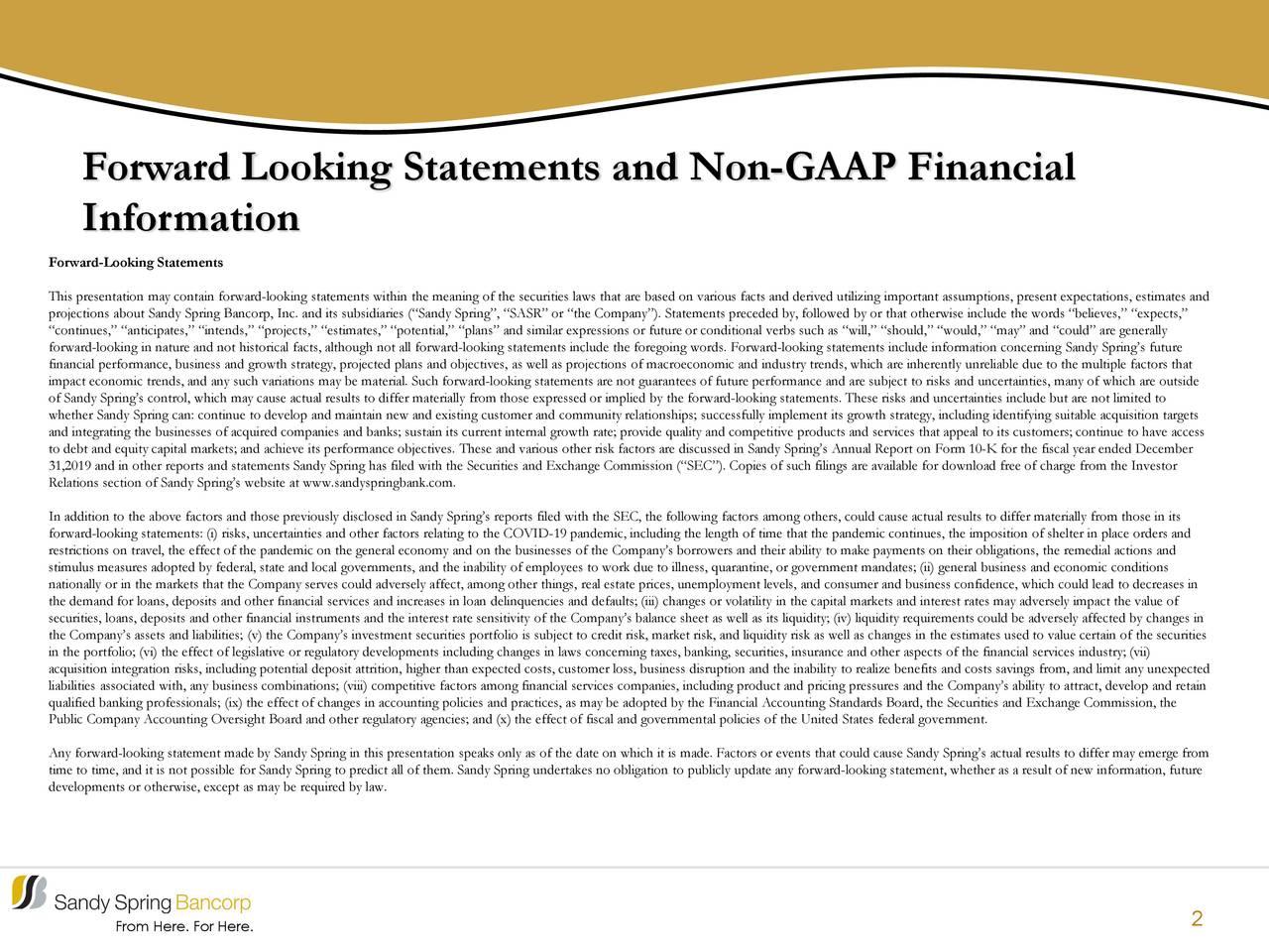 Declaraciones prospectivas y finanzas no GAAP