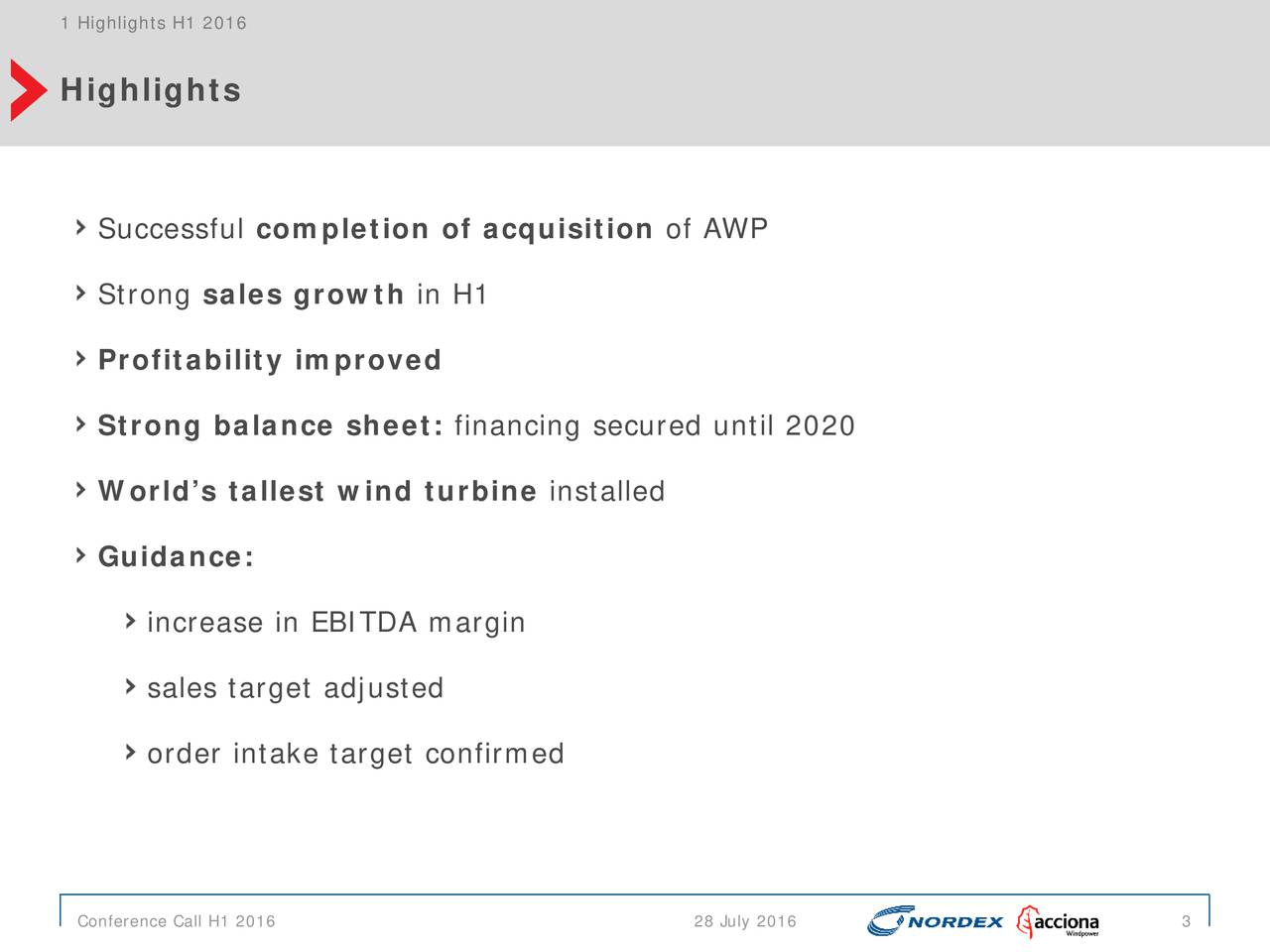 Highlights Successful completion of acquisition of AWP Strong sales growth in H1 Profitability improved Strong balance sheet: financing secured until 2020 Worlds tallest wind turbine installed Guidance: increase in EBITDA margin sales target adjusted order intake target confirmed Conference Call H1 2016 28 July 2016 3