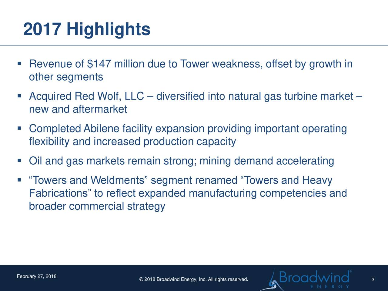 """▪ Revenue of $147 million due to Tower weakness, offset by growth in other segments ▪ Acquired Red Wolf, LLC – diversified into natural gas turbine market – new and aftermarket ▪ Completed Abilene facility expansion providing important operating flexibility and increased production capacity ▪ Oil and gas markets remain strong; mining demand accelerating ▪ """"Towers and Weldments"""" segment renamed """"Towers and Heavy Fabrications"""" to reflect expanded manufacturing competencies and broader commercial strategy February 27, 2018 © 2018 Broadwind Energy, Inc. All rights reserved. 3"""