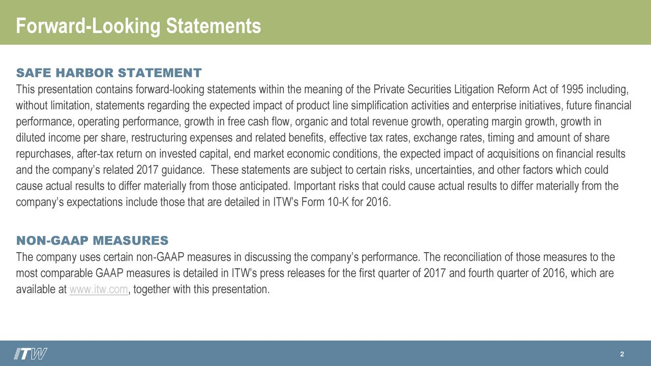 SAFE HARBOR STATEMENT This presentation contains forward-looking statements within the meaning of the Private Securities Litigation Reform Act of 1995 including, without limitation, statements regarding the expected impact of product line simplification activities and enterprise initiatives, future financial performance, operating performance, growth in free cash flow, organic and total revenue growth, operating margin growth, growth in diluted income per share, restructuring expenses and related benefits, effective tax rates, exchange rates, timing and amount of share repurchases, after-tax return on invested capital, end market economic conditions, the expected impact of acquisitions on financial results and the companys related 2017 guidance. These statements are subject to certain risks, uncertainties, and other factors which could cause actual results to differ materially from those anticipated. Important risks that could cause actual results to differ materially from the companys expectations include those that are detailed in ITWs Form 10-K for 2016. NON-GAAP MEASURES The company uses certain non-GAAP measures in discussing the companys performance. The reconciliation of those measures to the most comparable GAAP measures is detailed in ITWs press releases for the first quarter of 2017 and fourth quarter of 2016, which are available at www.itw.com, together with this presentation. 2