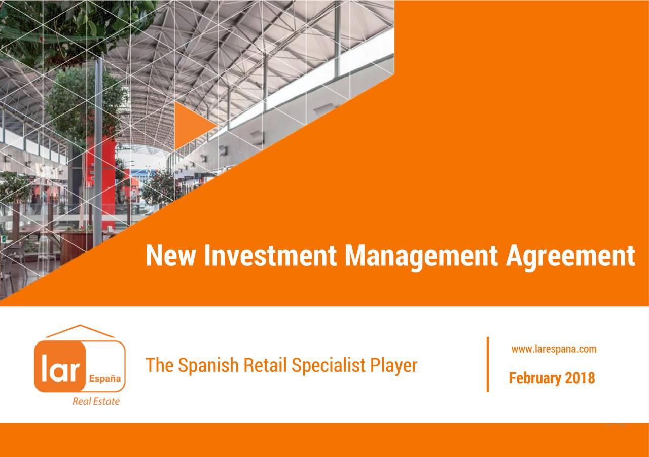 Investment Management Agreement | Lar Espana Real Estate Laref New Investment Management Agreement
