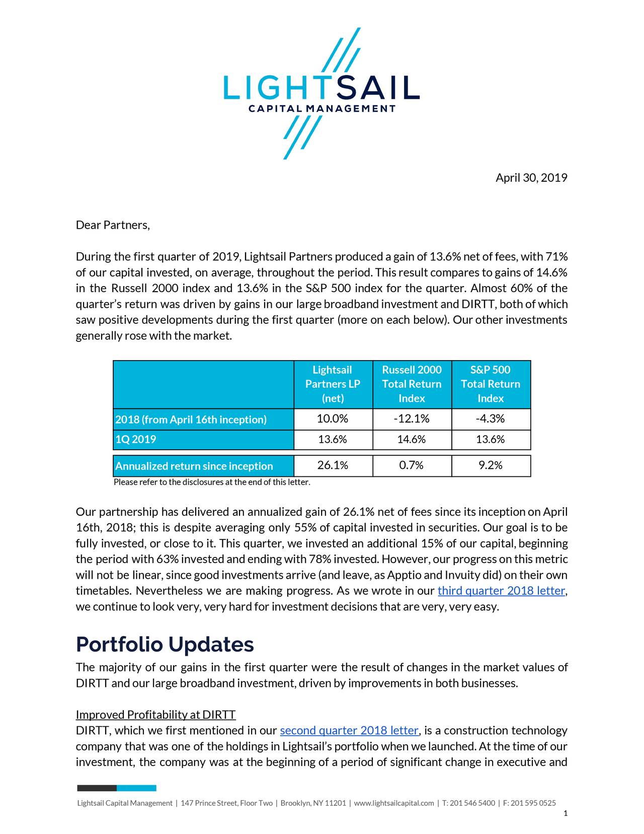 Lightsail Capital Management Q1 2019 Letter