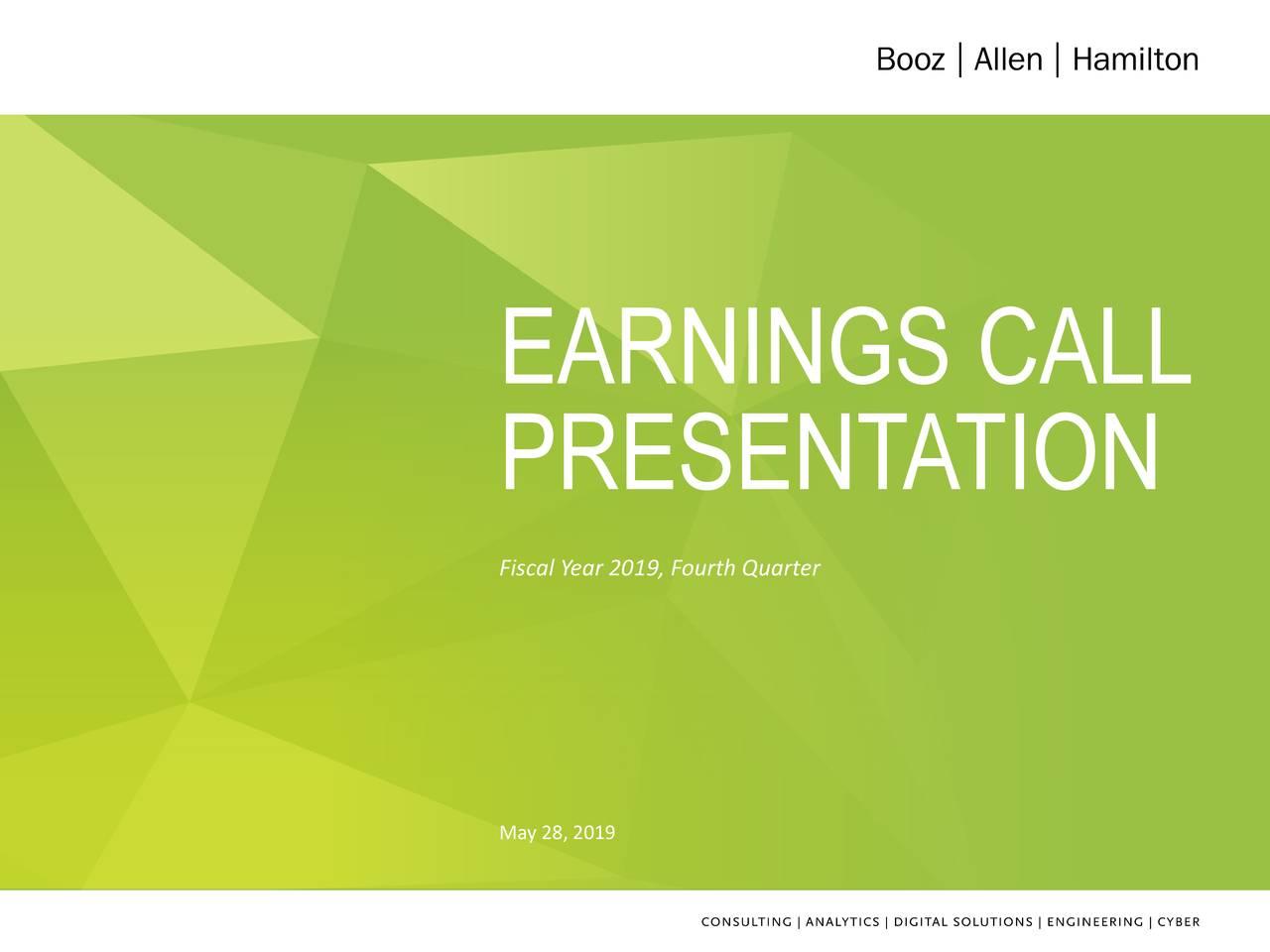 Booz Allen Hamilton Holding Corporation 2019 Q4 - Results - Earnings Call Slides