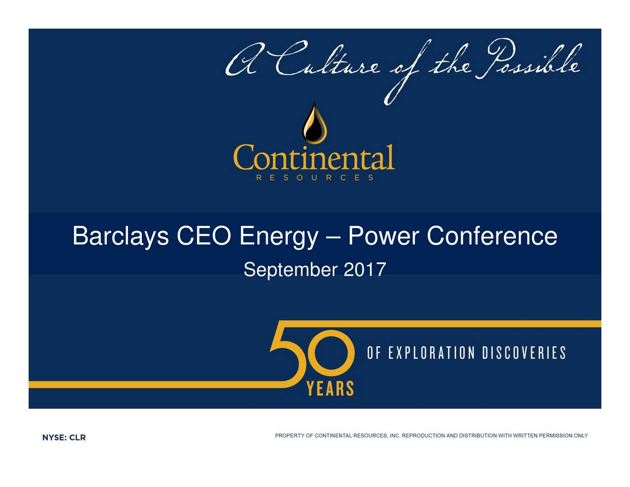 Clr Stock Quote Mesmerizing Continental Resources Clr Presents At Barclays Ceo Energypower