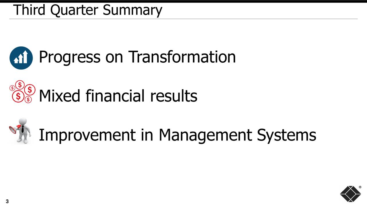 Progress on T ransformation Mixed financial results Improvement in Management Systems