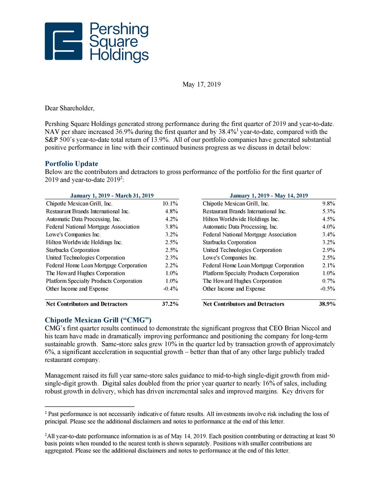Pershing Square Holdings Q1 2019 Letter To Shareholders