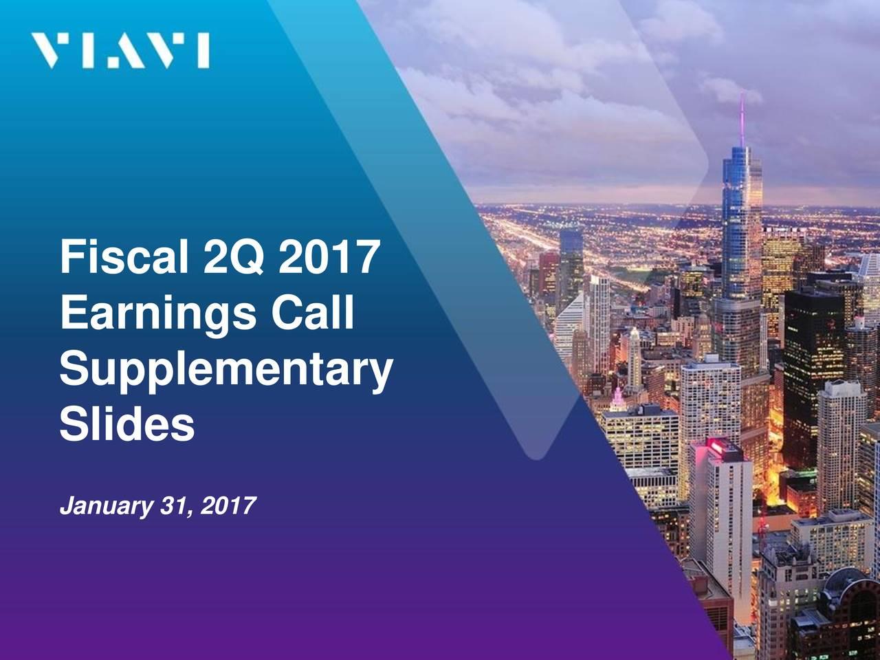 Earnings Call Supplementary Slides January 31, 2017