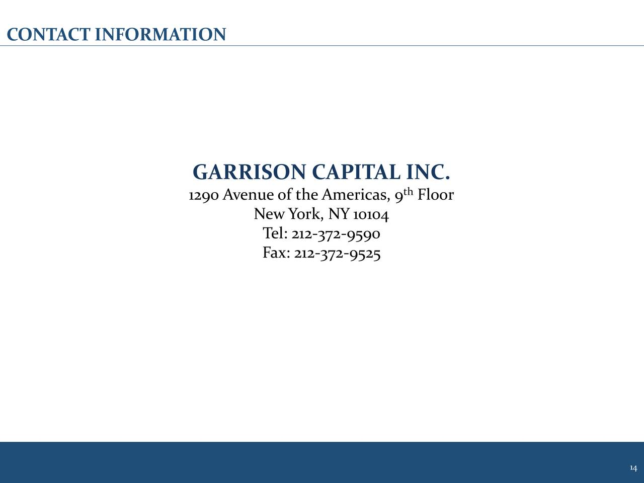 Garrison capital 2017 q4 results earnings call slides for 1290 avenue of the americas sixth floor