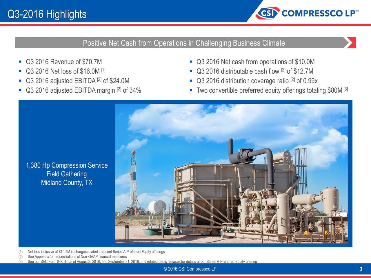 Positive Net Cash from Operations in Challenging Business Climate Q3 2016 Revenue of $70.7M  Q3 2016 Net cash from operationsof $10.0M Q3 2016 Net loss of $16.0M [1]  Q3 2016 distributable cash flow [2]of $12.7M Q3 2016 adjusted EBITDA [2of $24.0M  Q3 2016 distribution coverage ratio [2]of 0.99x Q3 2016 adjusted EBITDAmargin [2]of 34%  Two convertible preferred equity offerings totaling $80M [3] 1,380 Hp Compression Service Field Gathering Midland County, TX (1) Net loss inclusive of $10.2Min chargesrelated to recent Series A Preferred Equity offerings (2) See Appendixfor reconciliations of Non-GAAP financialmeasures (3) See our SEC Form 8-K filings of August8, 2016,and September21, 2016,and related press releasesfor details of our SeriesA PreferredEquity offering 2016 CSI Compressco LP 3