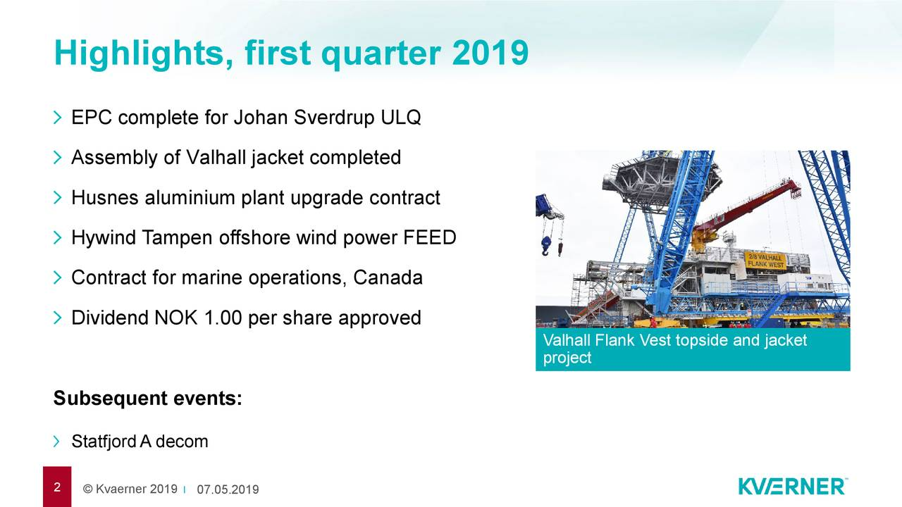 EPC complete for Johan Sverdrup ULQ Assembly of Valhall jacket completed Husnes aluminium plant upgrade contract Hywind Tampen offshore wind power FEED Contract for marine operations, Canada Dividend NOK 1.00 per share approved Valhall Flank Vest topside and jacket project Subsequent events: StatfjordA decom 2 © Kvaerner 20107.05.2019
