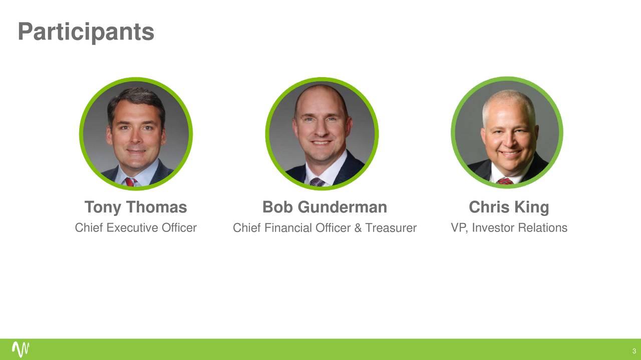Tony Thomas Bob Gunderman Chris King Chief Executive OfficerChief Financial Officer & TreasurerInvestor Relations