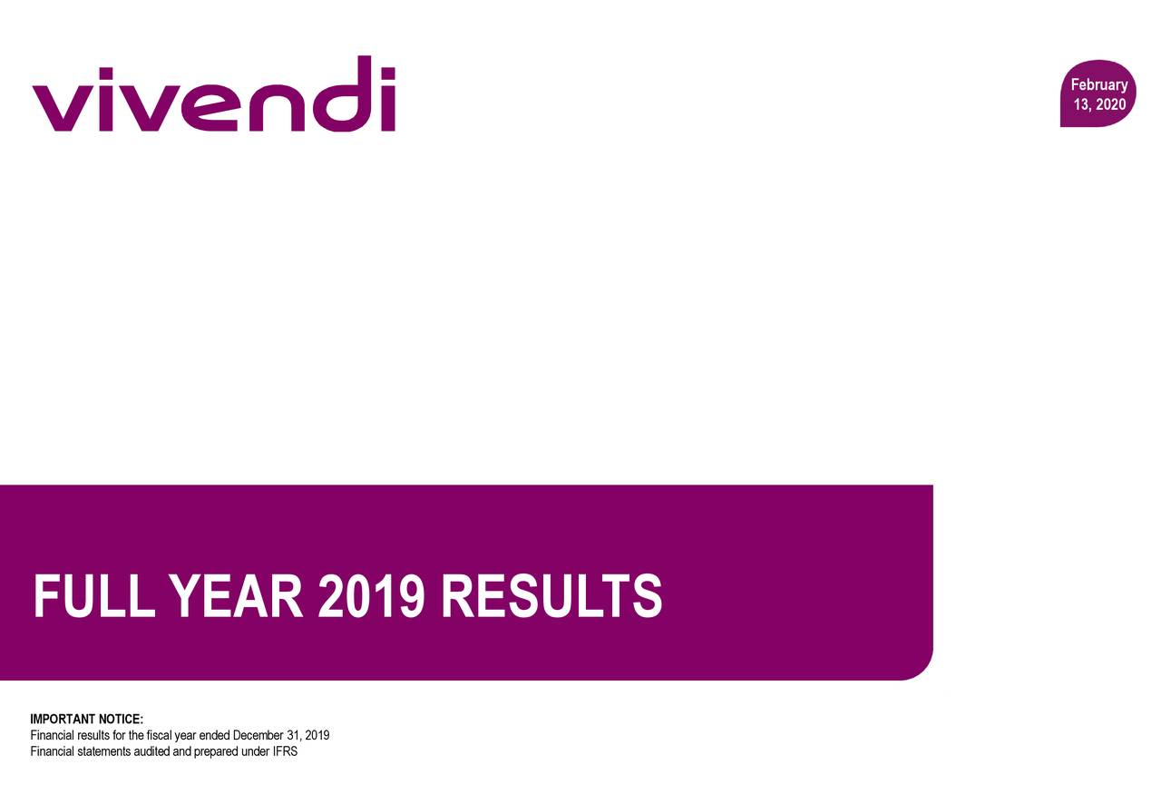 Vivendi SA 2019 Q4 - Results - Earnings Call Presentation - Vivendi SA (OTCMKTS:VIVEF) | Seeking Alpha