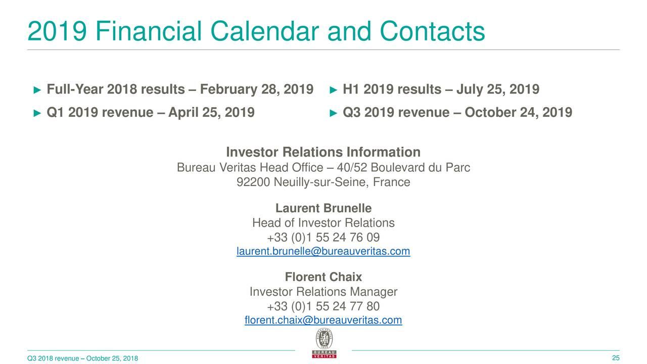 Bureau veritas registre international de classification 2018 q3 results earnings call slides - Bureau veritas france head office ...
