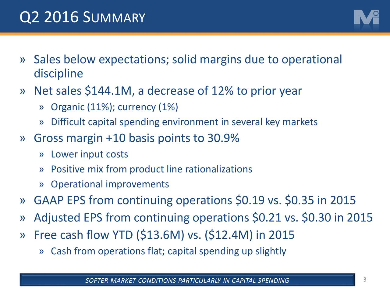 Sales below expectations; solid margins due to operational discipline Net sales $144.1M, a decrease of 12% to prior year Organic (11%); currency (1%) Difficult capital spending environment in several key markets Gross margin +10 basis points to 30.9% Lower input costs Positive mix from product line rationalizations Operational improvements GAAP EPS from continuing operations $0.19 vs. $0.35 in 2015 Adjusted EPS from continuing operations $0.21 vs. $0.30 in 2015 Free cash flow YTD ($13.6M) vs. ($12.4M) in 2015 Cash from operations flat; capital spending up slightly SOFTER MARKET CONDITIONS PARTICULARLY IN CAPITAL SPENDING