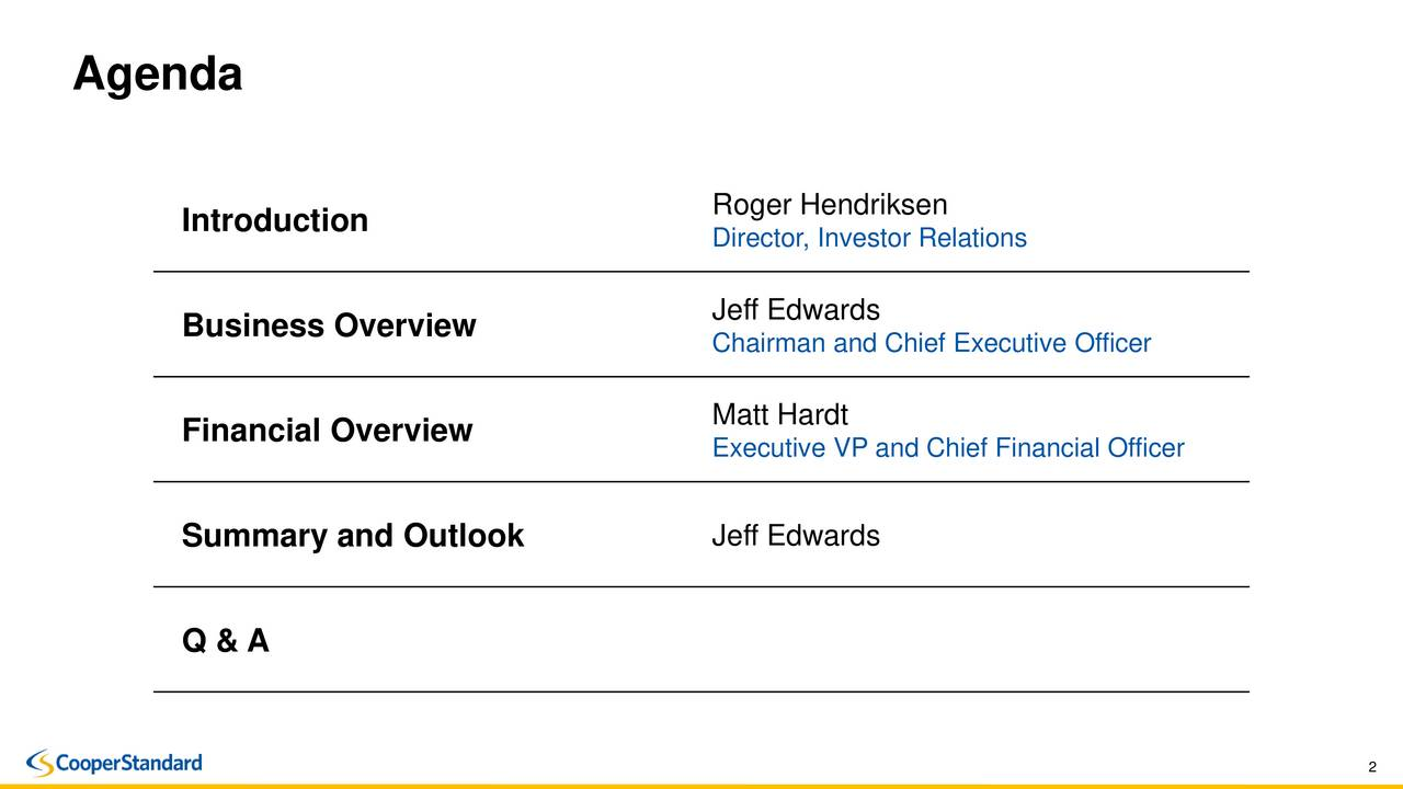 Roger Hendriksen Introduction Director, Investor Relations Jeff Edwards Business Overview Chairman and Chief Executive Officer Financial Overview Matt Hardt Executive VP and Chief Financial Officer Summary and Outlook Jeff Edwards Q & A 2