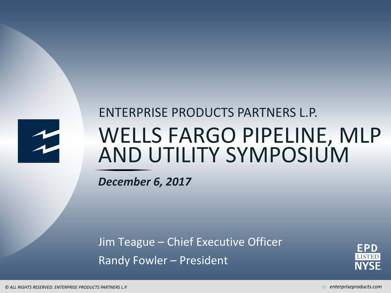 Epd Stock Quote Enterprise Products Partners Epd Presents At 2017 Wells Fargo