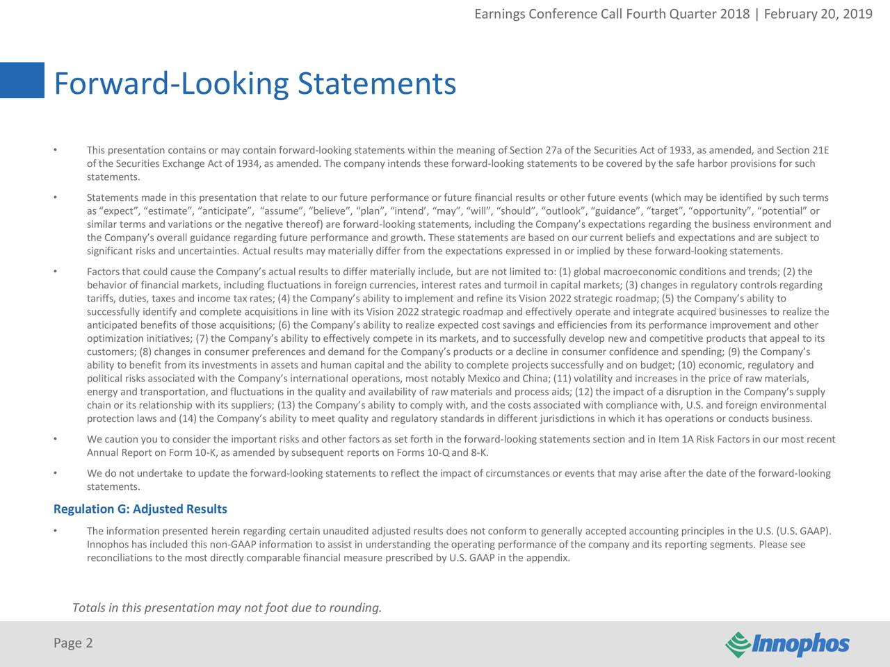 """Forward-Looking Statements • This presentation contains or may contain forward-looking statements within the meaning of Section 27a of the Securities Act of 1933, as amended, and Section 21E of the Securities Exchange Act of 1934, as amended. The company intends these forward-looking statements to be covered by the safe harbor provisions for such statements. • Statements made in this presentation that relate to our future performance or future financial results or other future events (which may be identified by such terms as """"expect"""", """"estimate"""", """"anticipate"""", """"assume"""", """"believe"""", """"plan"""", """"intend', """"may"""", """"will"""", """"should"""", """"outlook"""", """"guidance"""", """"target"""", """"opportunity"""", """"potential"""" or similar terms and variations or the negative thereof) are forward-looking statements, including the Company's expectations regarding the business environment and the Company's overall guidance regarding future performance and growth. These statements are based on our current beliefs and expectations and are subject to significant risks and uncertainties. Actual results may materially differ from the expectations expressed in or implied by these forward-looking statements. • Factorsthat could cause the Company's actual results to differ materially include, but are not limited to: (1) global macroeconomic conditions and trends; (2) the behavior of financial markets, including fluctuations in foreign currencies, interest rates and turmoil in capital markets; (3) changes in regulatory controls regarding tariffs, duties, taxes and income tax rates; (4) the Company's ability to implement and refine its Vision 2022strategic roadmap; (5) the Company's ability to successfully identify and complete acquisitions in line with its Vision 2022strategic roadmap and effectively operate and integrate acquired businesses to realize the anticipated benefits of those acquisitions; (6) the Company's ability to realize expected costsavings and efficiencies from its performance improvement and other optimiza"""