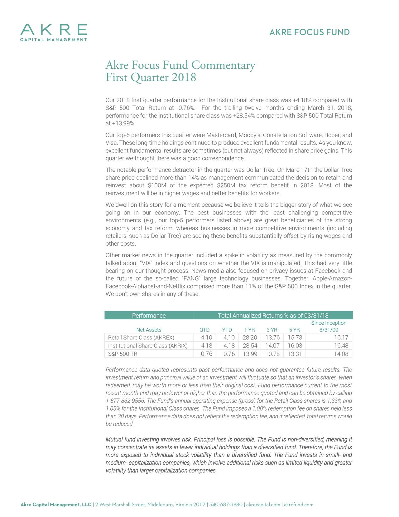 akre focus fund commentary first quarter 2018