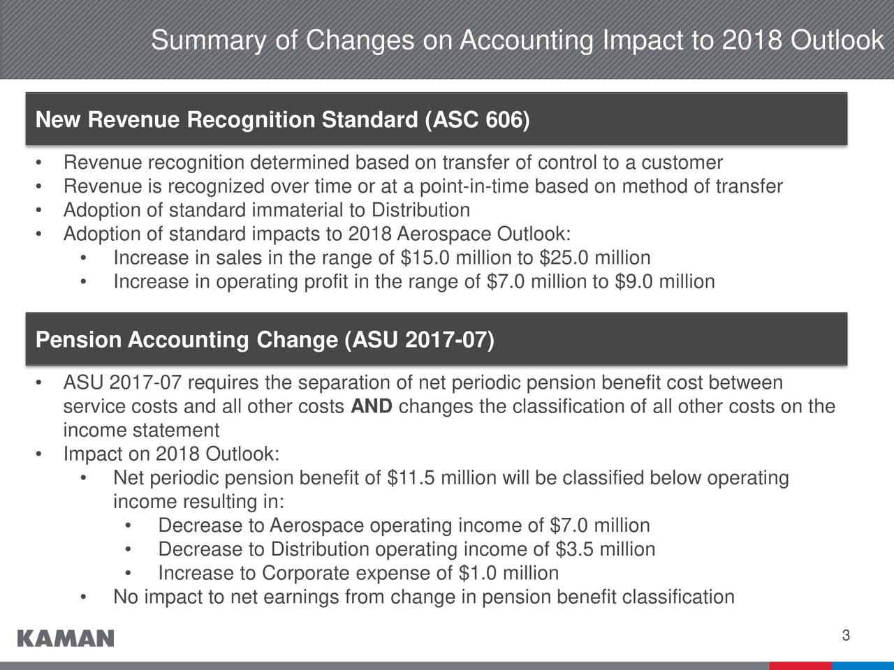 Earnings Disclaimer >> Kaman Corporation 2017 Q4 - Results - Earnings Call Slides - Kaman Corporation (NYSE:KAMN ...