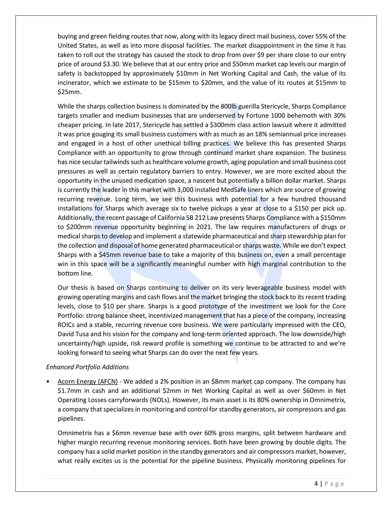 Artko Capital Q4 2018 Partner Letter Sharps Compliance