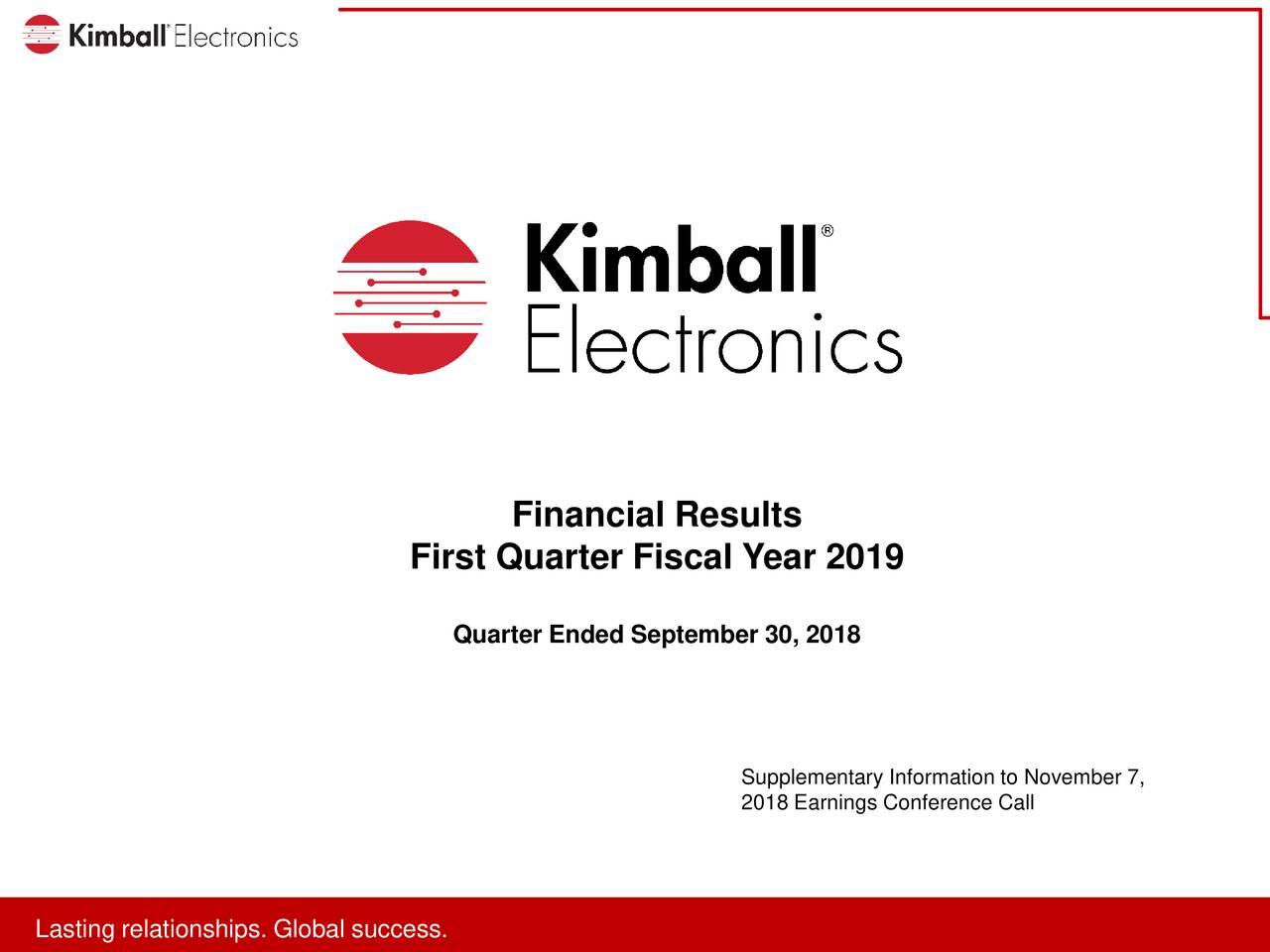 First Quarter Fiscal Year 2019 Quarter Ended September30, 2018 Supplementary Information to November 7, 2018 Earnings Conference Call LaLatitnreralitosnspip.s.looabllusuccsss.s.