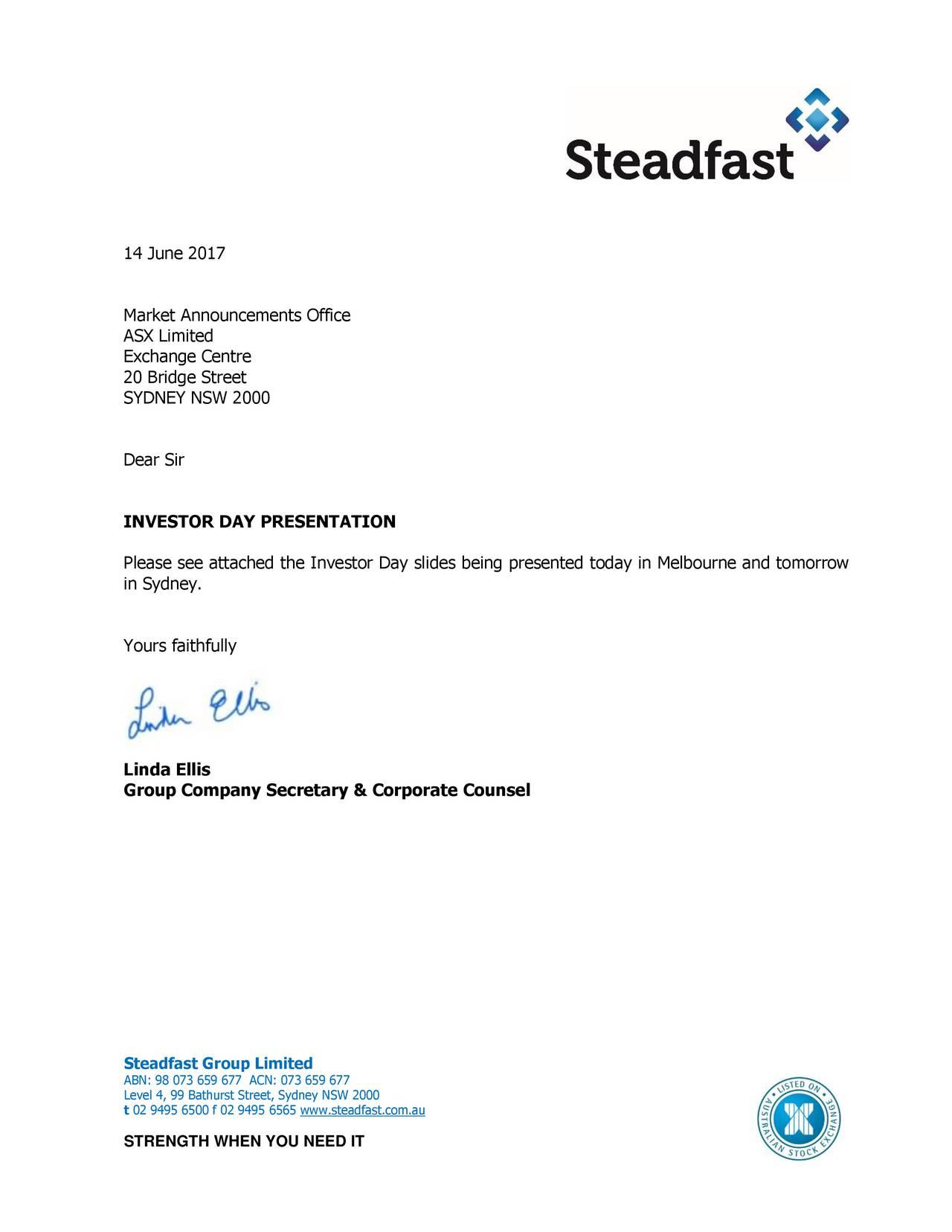 steadfast group sfglf investor presentation slideshow