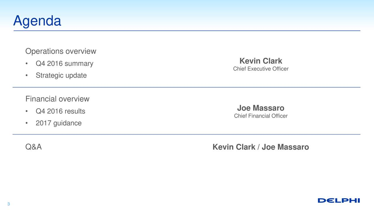 Operations overview Kevin Clark Q4 2016 summary Chief Executive Officer Strategic update Financial overview Q4 2016 results Joe Massaro Chief Financial Officer 2017 guidance Q&A Kevin Clark / Joe Massaro 3