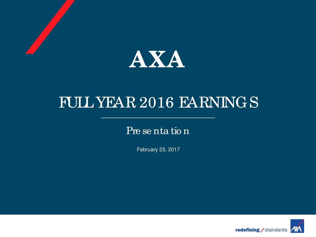 FULL YEAR 2016 EARNINGS Presentation February 23, 2017