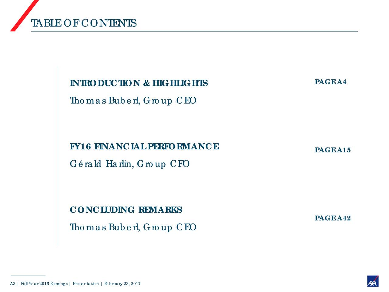 INTRODUCTION & HIGHLIGHTS PAGE A4 Thomas Buberl, Group CEO FY16 FINANCIAL PERFORMANCE PAGE A15 Grald Harlin, Group CFO CONCLUDING REMARKS PAGE A42 Thomas Buberl, Group CEO A3 | Full Year 2016 Earnings |Presentation| February 23, 2017