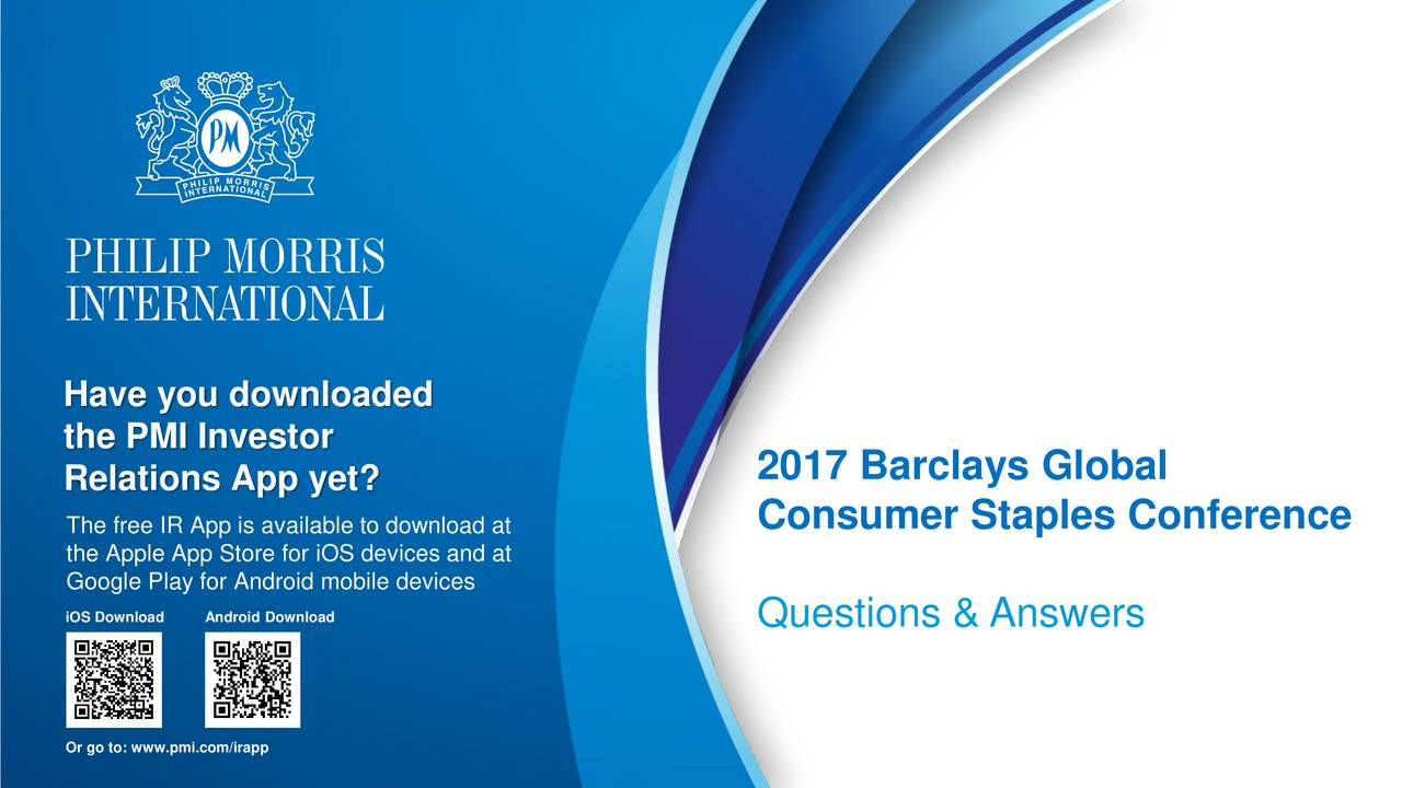 Philip Morris (PM) Presents At The Barclays Global Consumer Staples