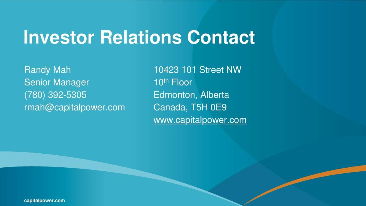 Capital Power (CPXWF) Investor Presentation - Slideshow