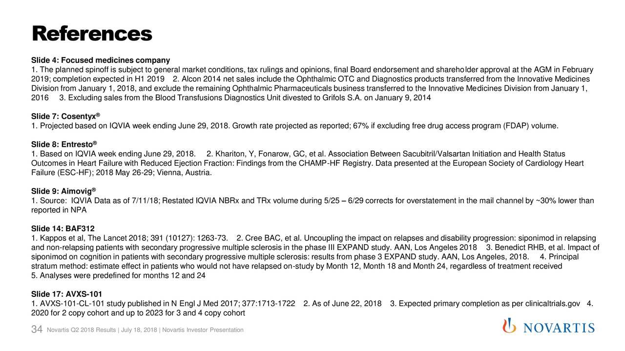 Earnings Disclaimer >> Novartis AG 2018 Q2 - Results - Earnings Call Slides ...