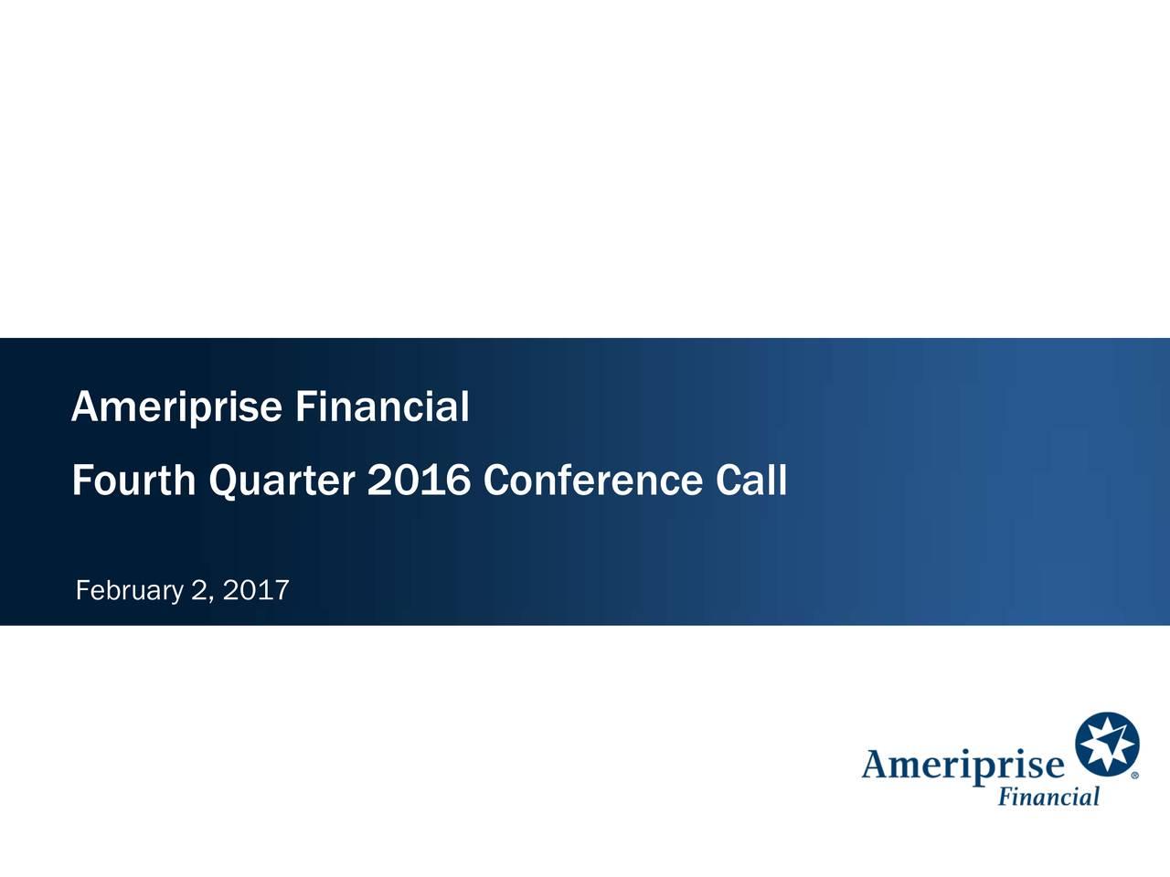 Fourth Quarter 2016 Conference Call February 2, 2017