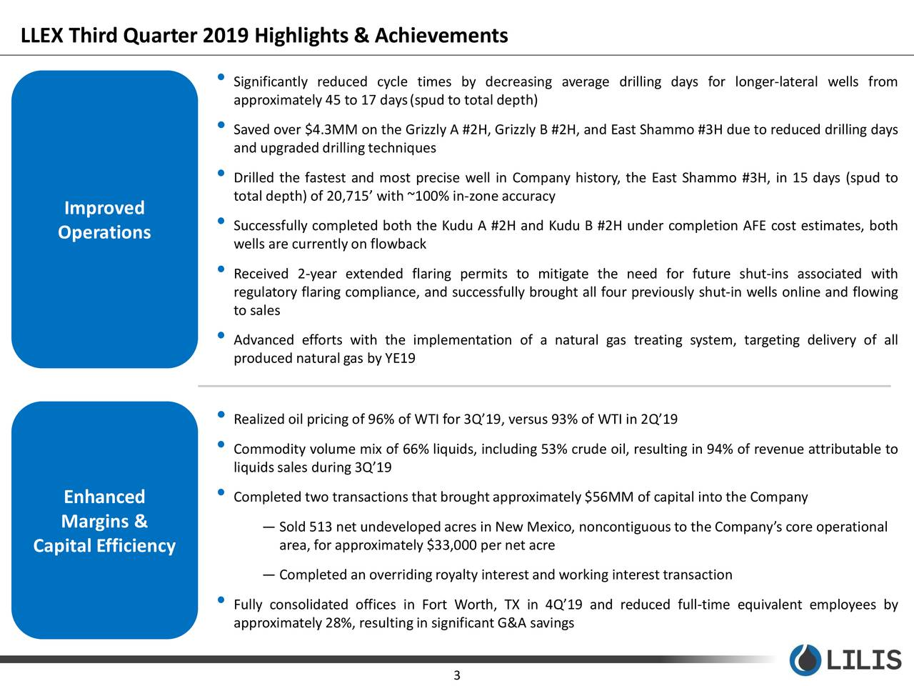 LLEX Third Quarter 2019 Highlights & Achievements