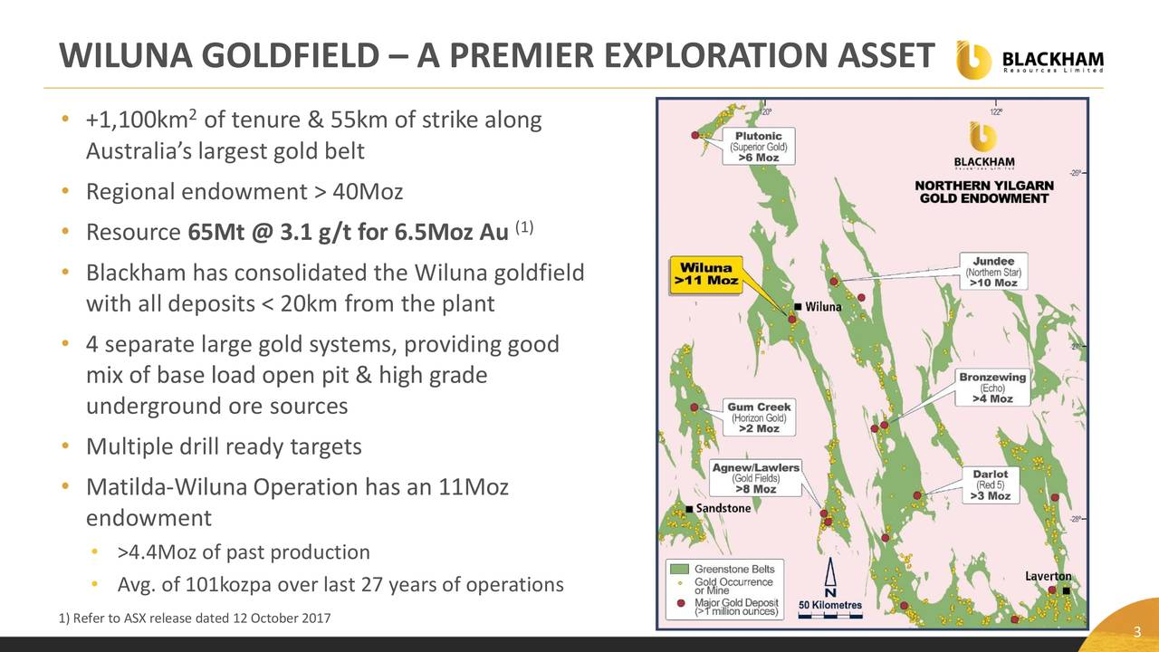 • +1,100km of tenure & 55km of strike along Australia's largest gold belt • Regional endowment > 40Moz • Resource 65Mt @ 3.1 g/t for 6.5Moz Au (1) • Blackham has consolidated the Wiluna goldfield with all deposits < 20km from the plant • 4 separate large gold systems, providing good mix of base load open pit & high grade underground ore sources • Multiple drill ready targets • Matilda-Wiluna Operation has an 11Moz endowment • >4.4Moz of past production • Avg. of 101kozpa over last 27 years of operations 1) Refer to ASX release dated 12 October 2017 3