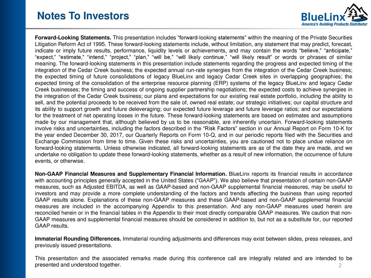BlueLinx Holdings, Inc  2018 Q3 - Results - Earnings Call