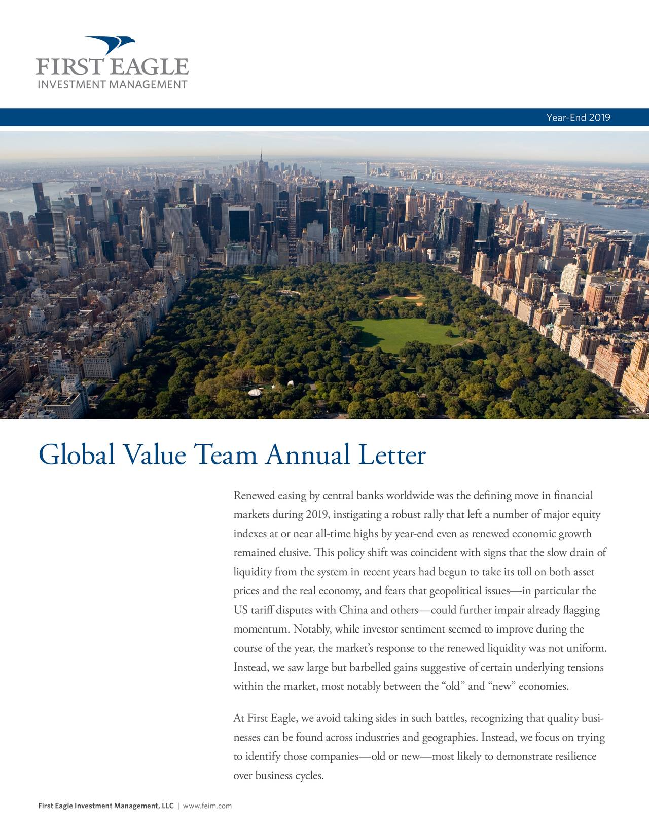 First Eagle Global Value Team Annual Letter 2019 | Seeking Alpha