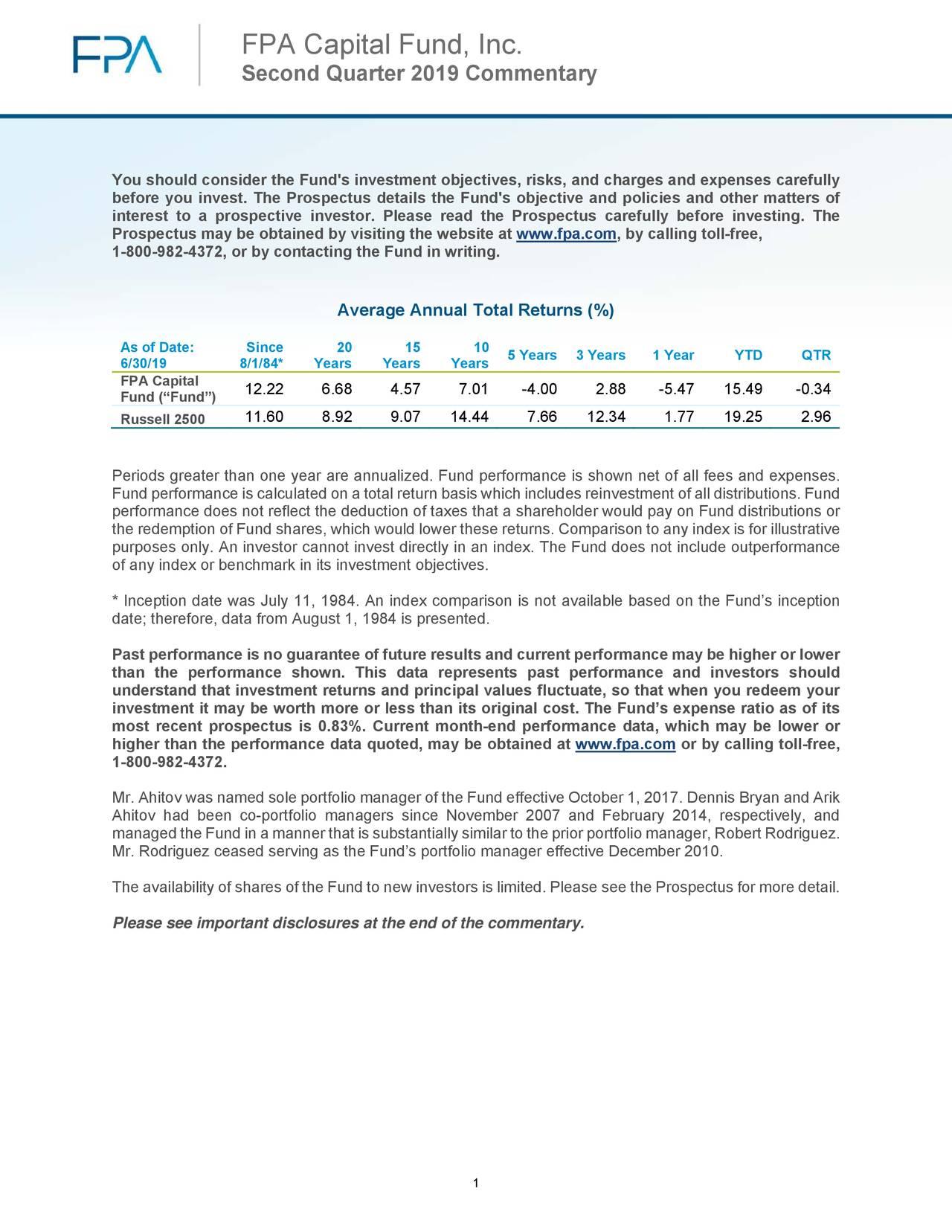 FPA Capital Fund, Inc.