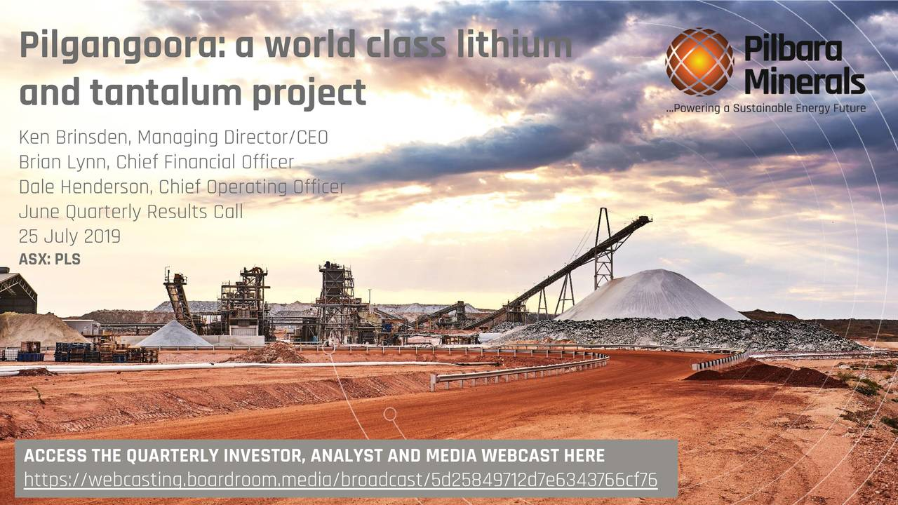 Pilbara Minerals Limited 2019 Q2 - Results - Earnings Call Slides
